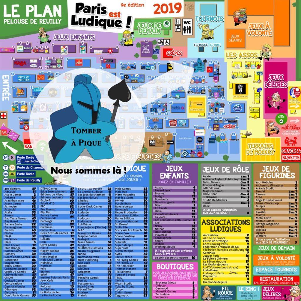 Emplacement stand Tomber à pique pour présenter le jeu Le Poissonnier à Paris est Ludique